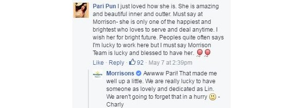 More praise on Facebook: 'She is amazing and beautiful inner and outer. She is only one of the happiest and brightest who loves to serve and deal anytime.'