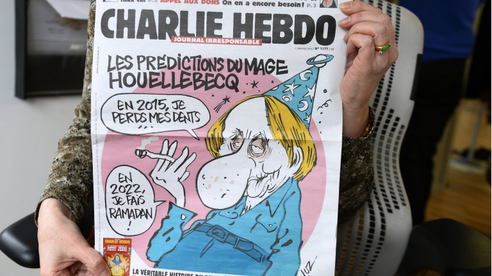 The cover of Charlie Hebdo magazine on 7 January 2015, with a cartoon of Michel Houellebecq