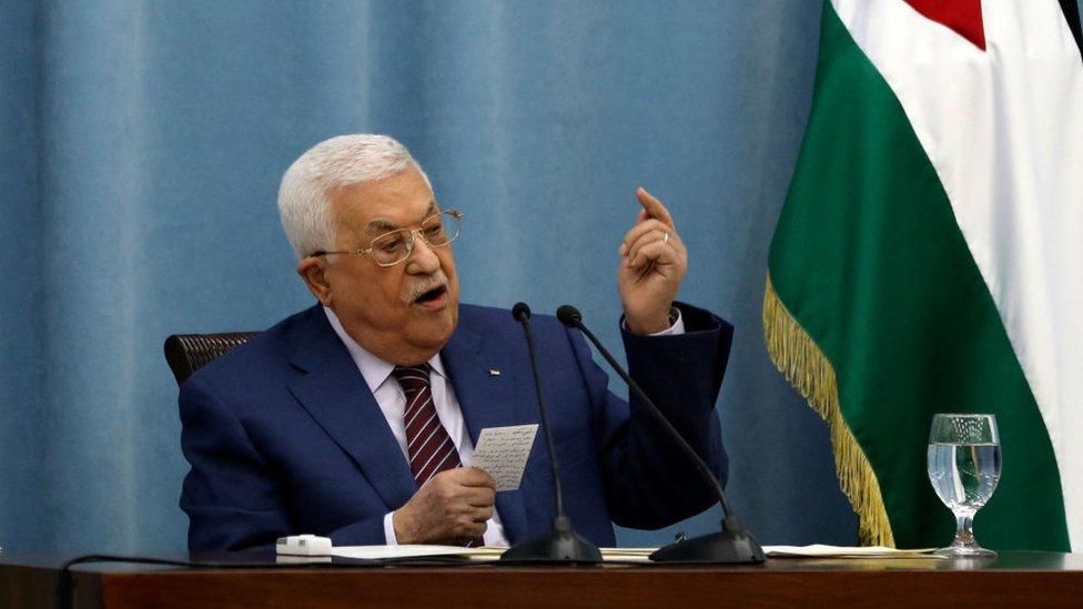 Mahmoud Abbas, presidente de la Autoridad Palestina, durante una reunión de emergencia del Comité Central de Fatah
