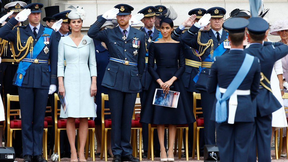 (Left to right) The Duke and Duchess of Cambridge, the Duke and Duchess of Sussex and the Duke of York before the flypast