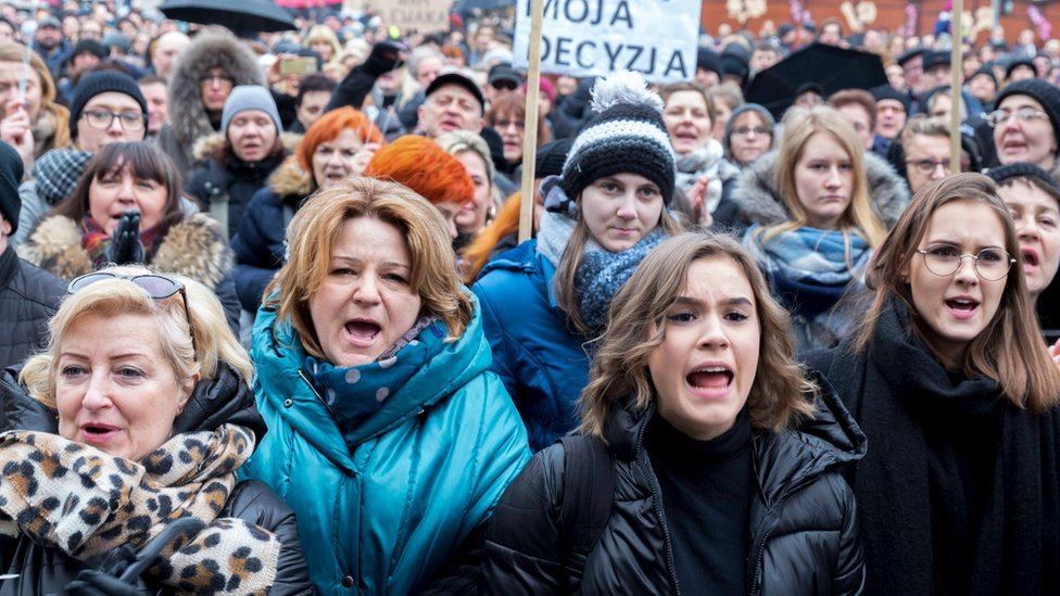 "People take part in the nationwide women's strike ""Black Friday"" to protest against the tightening of the abortion law in Katowice"