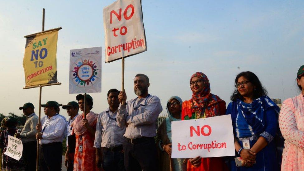 Una manifestación contra la corrupción en Daca, 2019