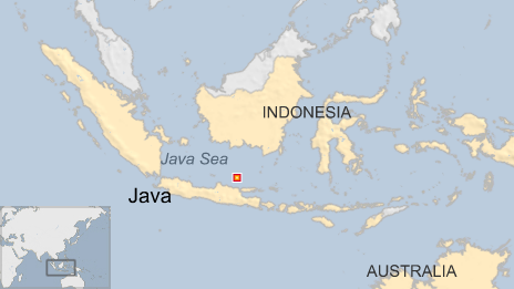 Map of Indonesia, Java, marking where Java Sea battle took place