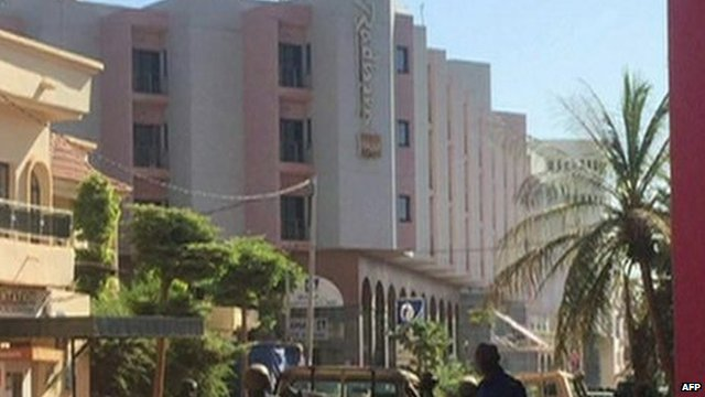 Security forces outside the Radisson Blu hotel in Bamako, Mali.