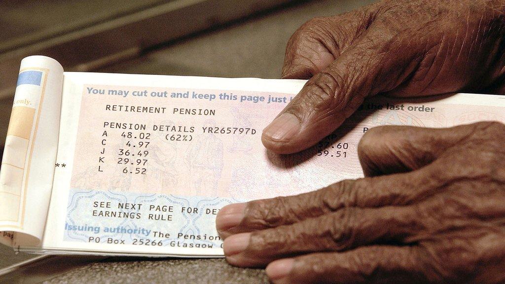 An elderly man holding a pension book