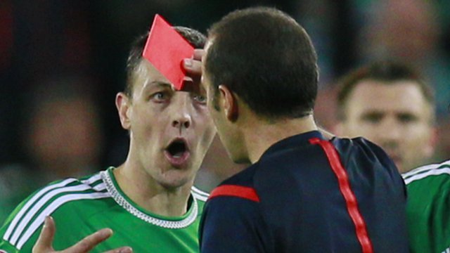 Chris Baird was sent-off in Northern Ireland's match against Hungary