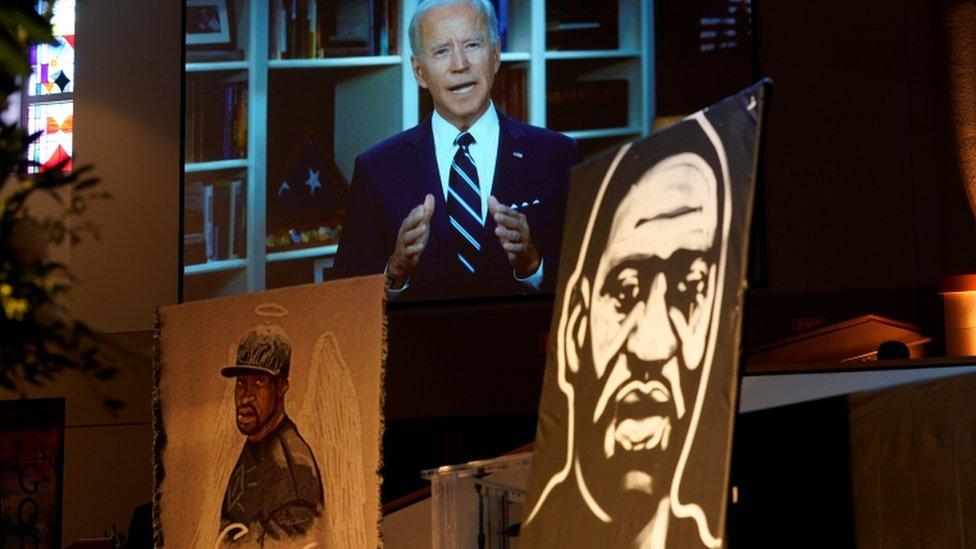 Biden en el funeral de George Floyd