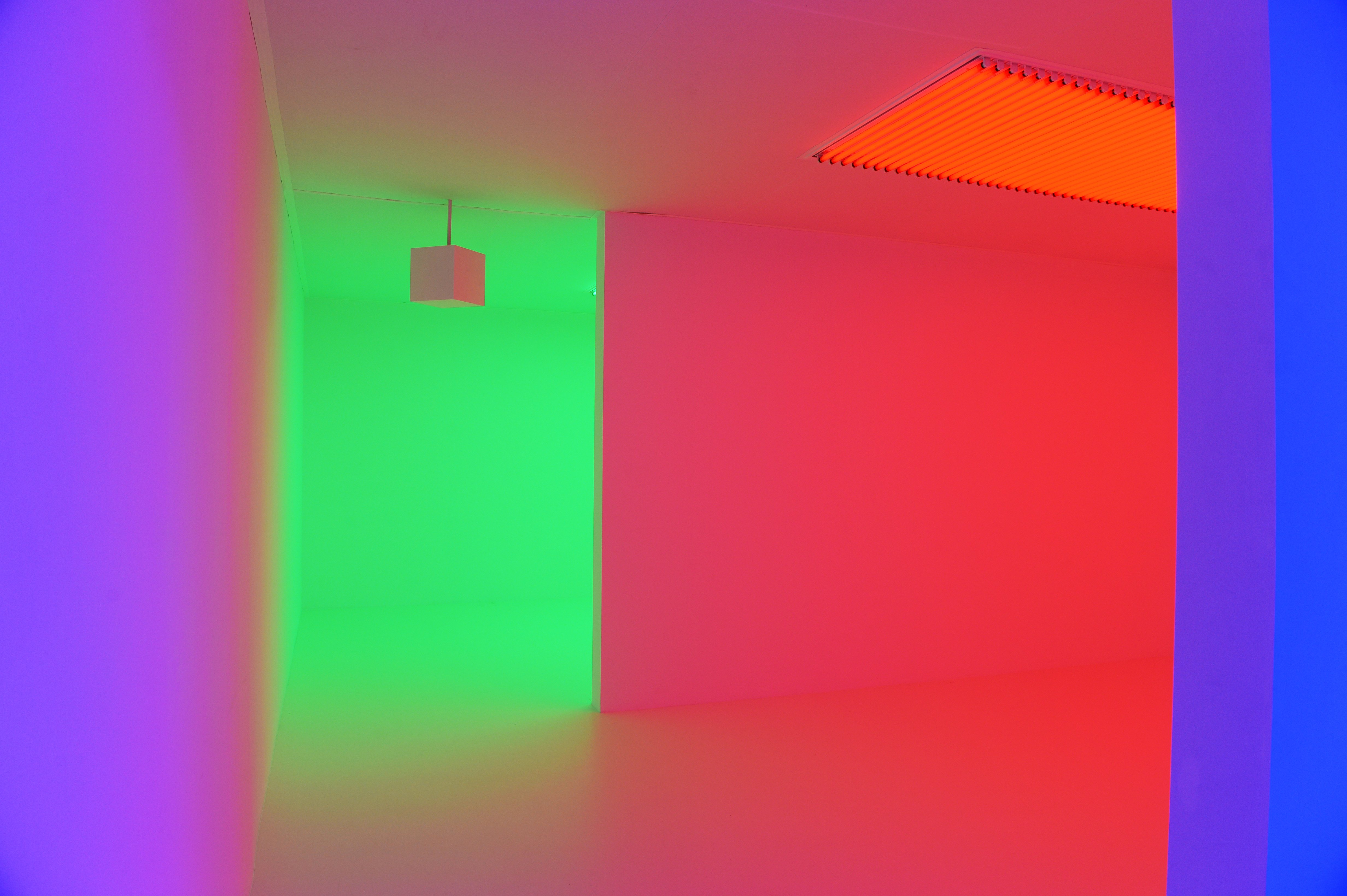 Carlos Cruz-Diez's Chromosaturation installation is displayed as part of the Light Show at the Hayward Gallery.