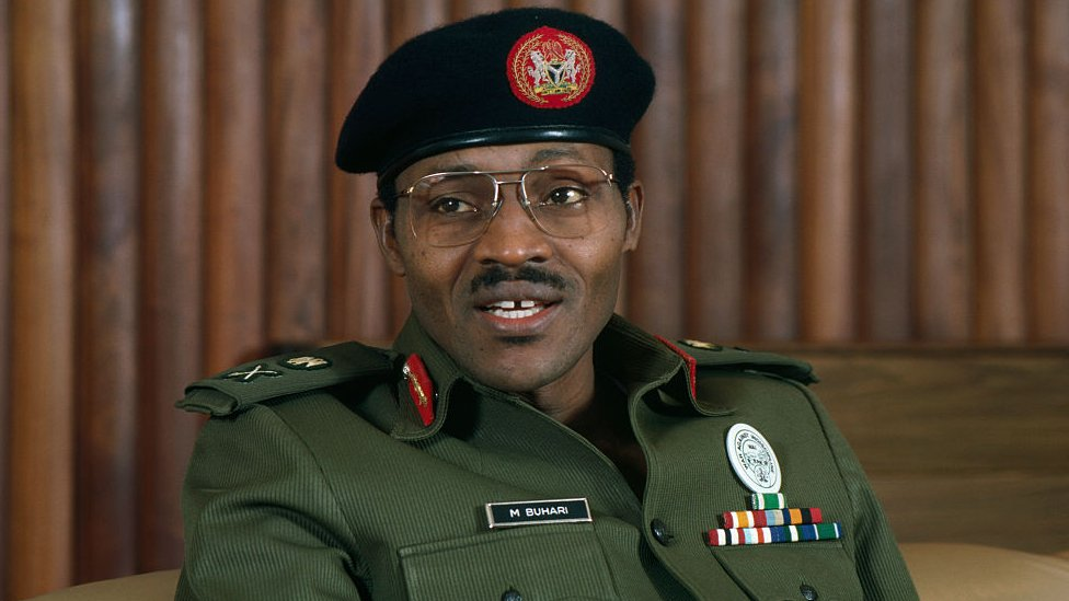 Muhammadu Buhari, pictured in 1983 when he was the military ruler of Nigeria