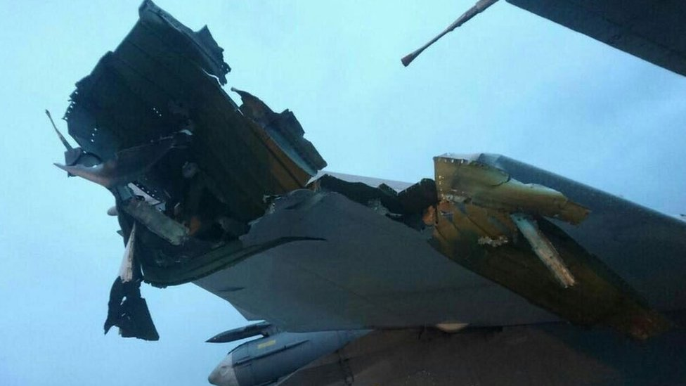 The damaged tail of a jet. Anonymous photo via Roman Saponkov