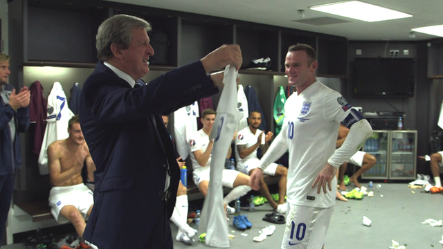England head coach Roy Hodgson with Wayne Rooney