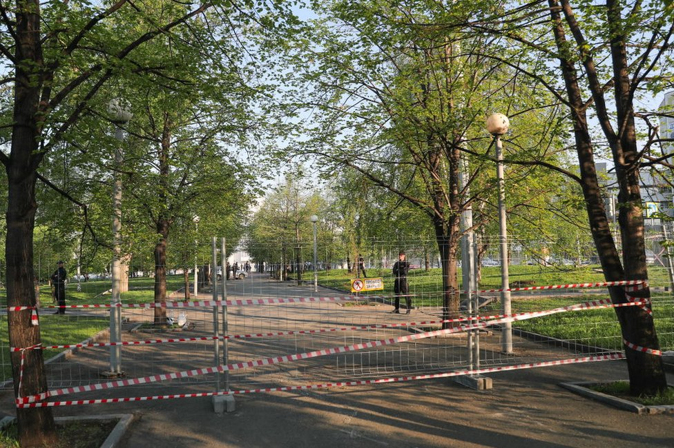 Fence in Yekaterinburg square