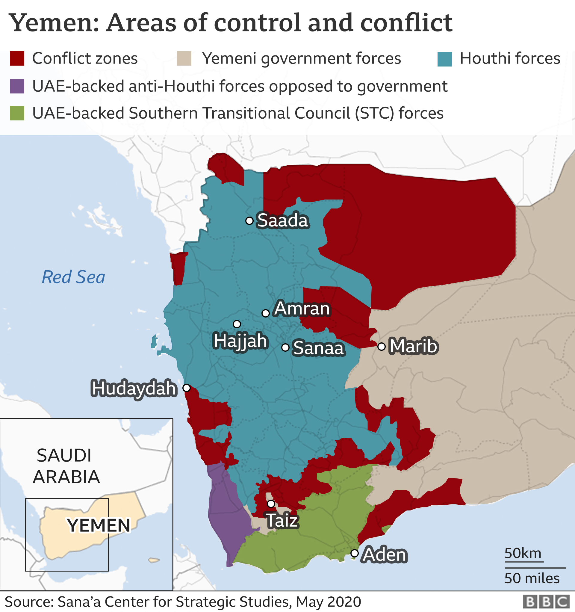 Map of Yemen showing areas of conflict and control (May 2020)