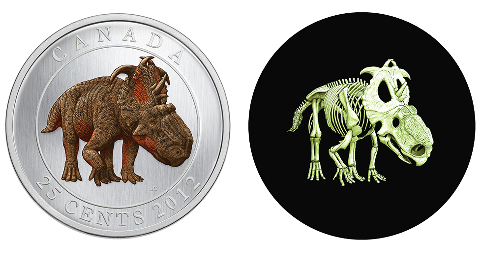 2012 glow-in-the-dark quarter features a coloured dinosaur with a glow-in-the-dark skelaton
