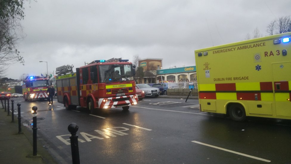 Fire and ambulance vehicles at the scene of the shooting at Dublin's Regency Hotel