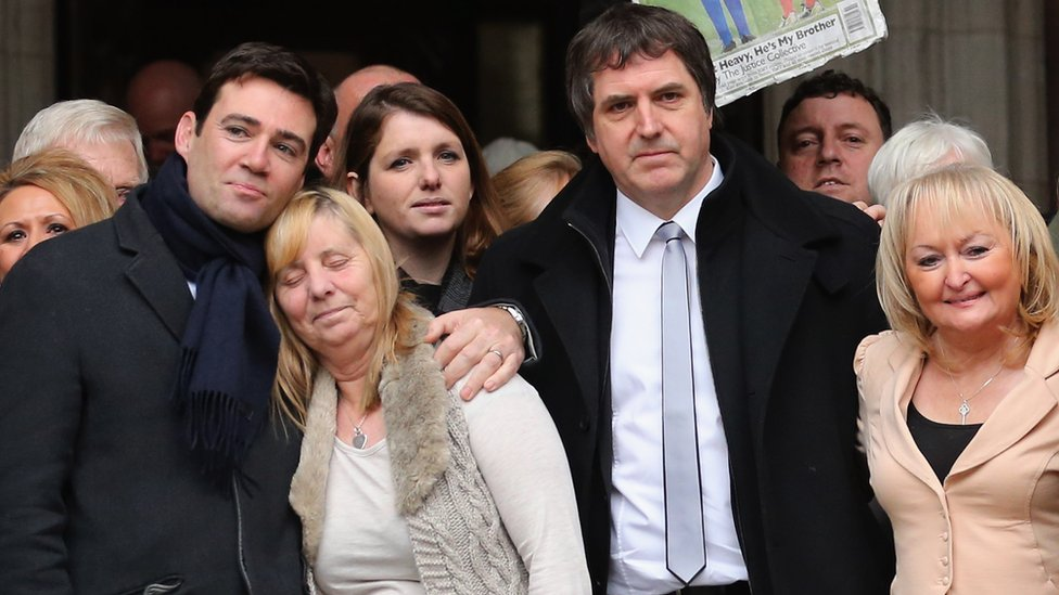 Andy Burnham and Steve Rotheram with Hillsborough families