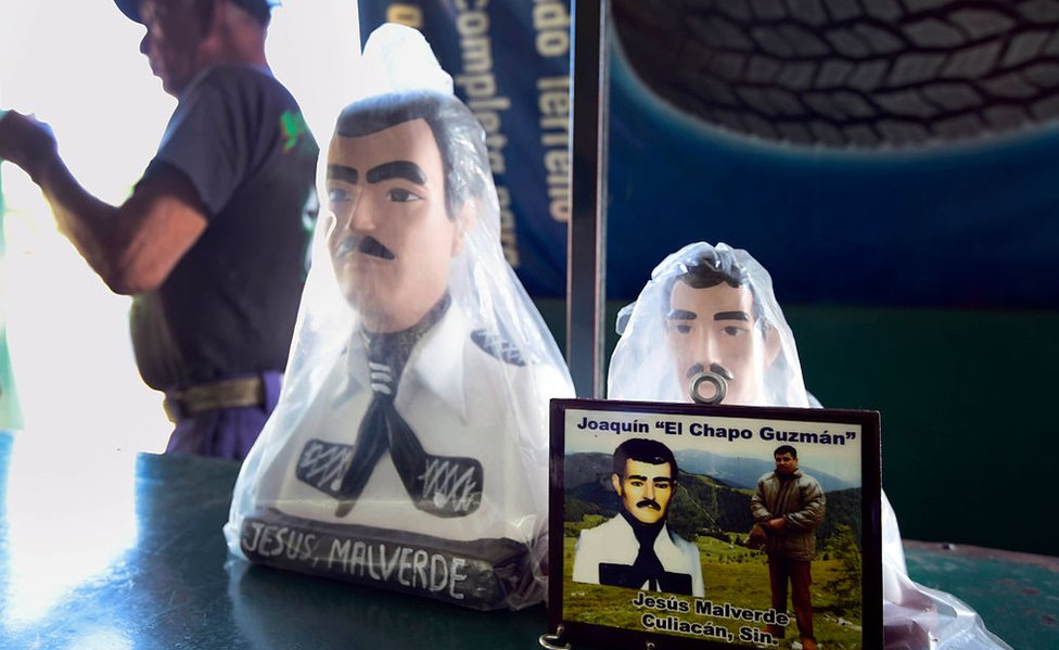 An El Chapo plaque in a chapel in Culiacan, Sinaloa - his home state
