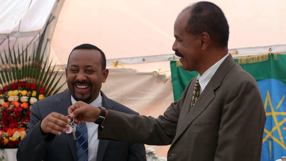 Eritrean President Isaias Afewerki and Ethiopian Prime Minister Abiy Ahmed attend the inauguration ceremony of Embassy of Eritrea in Addis Ababa, Ethiopia on July 16, 2018.