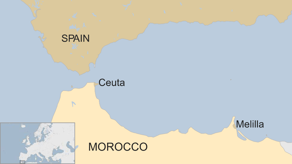 A BBC map showing the locations of Ceuta and Melilla, relative to Spain and Morocco