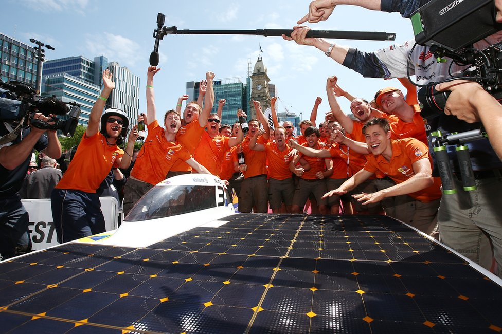 The Nuon Solar Team of the Netherlands celebrates after winning the 2015 Bridgestone World Solar Challenge at Victoria Square on 22 October 2015 in Adelaide, Australia