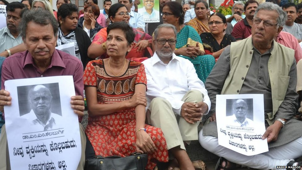 Senior artistes and writers of Karnataka, Girish Karnad, Baragur Ramachandrappa and others gathered for the condolence meet on the death of MM Kalburgi at Town Hall, former vice chancellor of the Hampi University, professor MM Kalburgi, who was shot dead at his residence in Dharwad by an unidentified gunman, on Sunday 30th August 2015