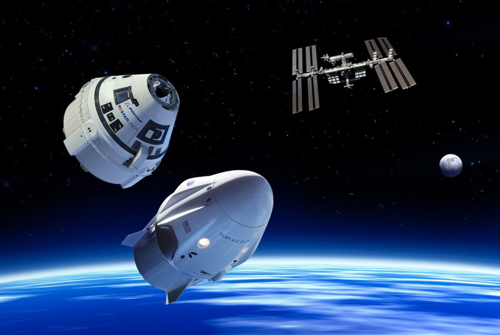 Boeing y SpaceX vehicles plus ISS