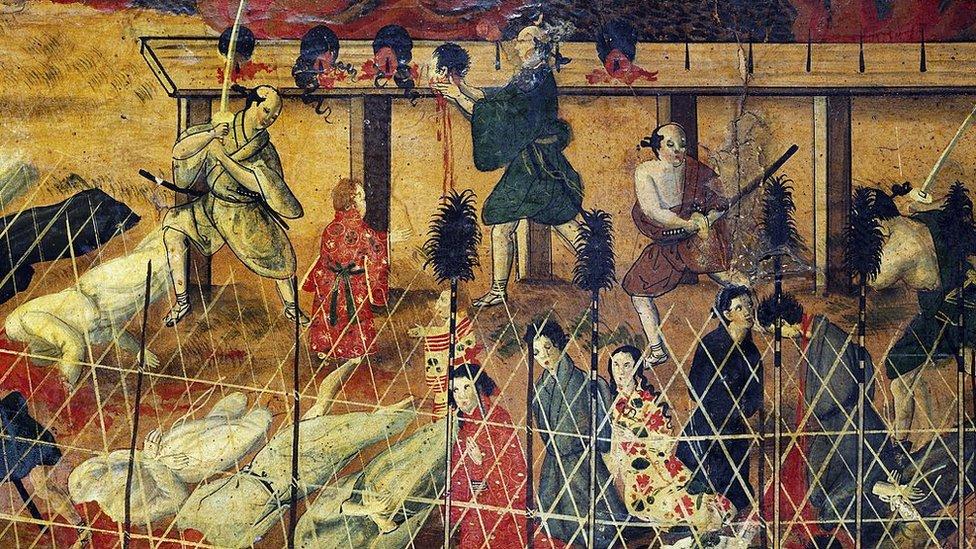 Imagen de los misionarios jesuitas decapitados en 1622 en Nagasaki.