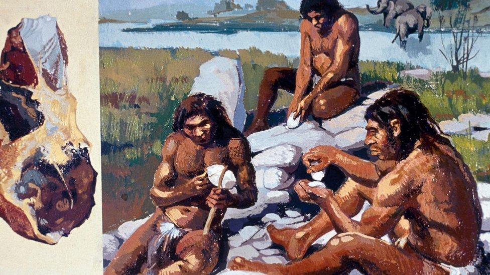 Dibujo de un grupo de neandertales