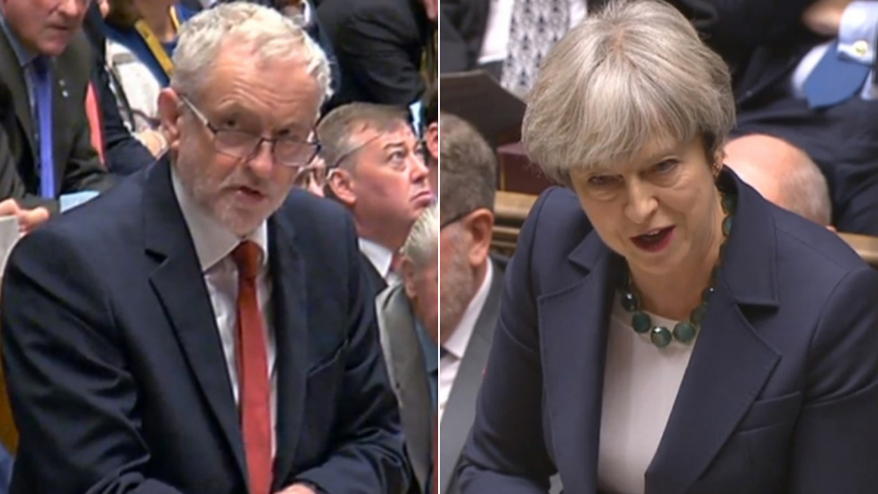 Jeremy Corbyn and Theresa May composite image