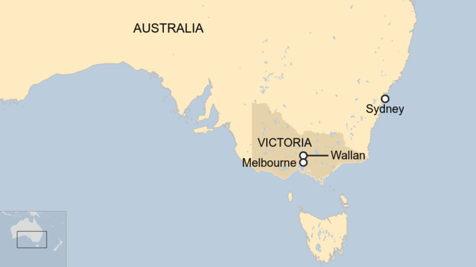 A map showing the location of Wallan in Victoria, Australia