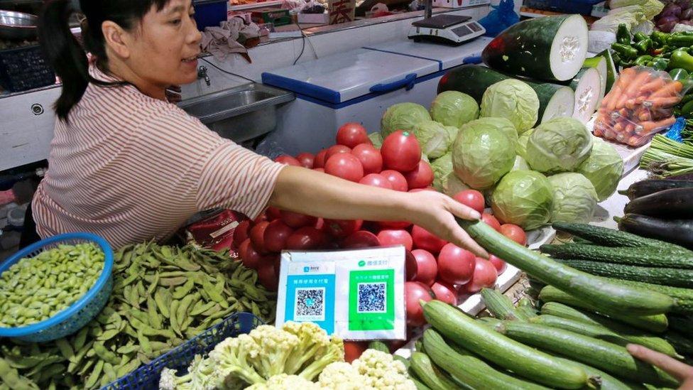 Mercado en China con sistema de pago WeChat