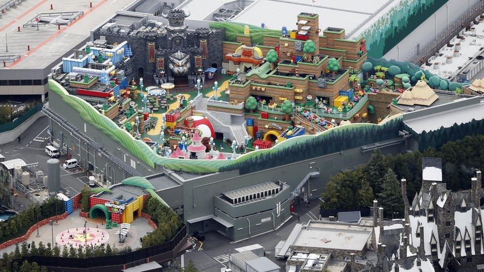 Una vista aérea de Super Nintendo World