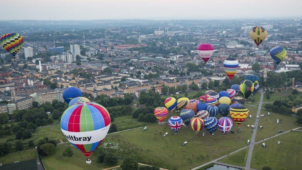 Hot air balloons over London