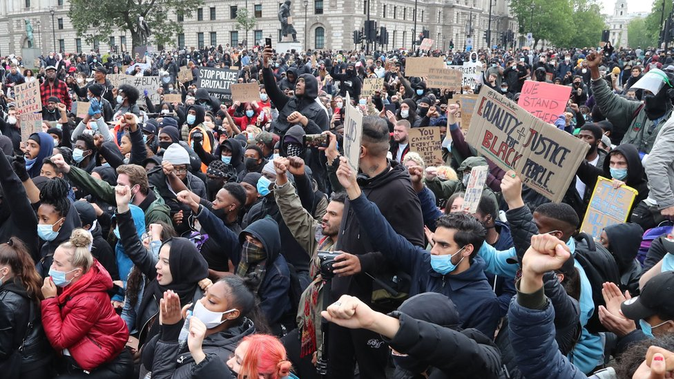 Anti-racism protesters in Parliament Square