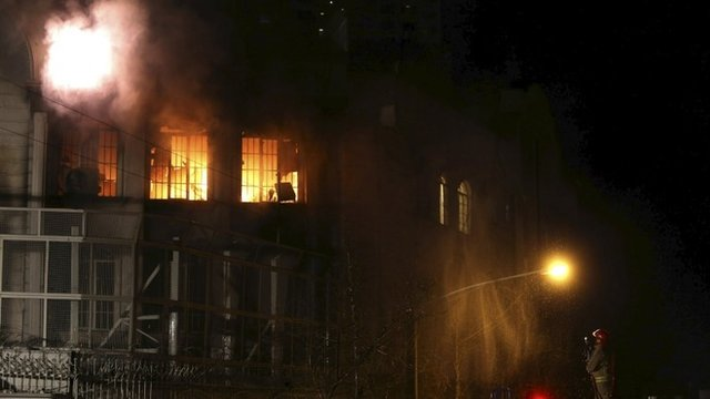 "Flames rise from Saudi Arabia""s embassy during a demonstration in Tehran January 2, 2016."