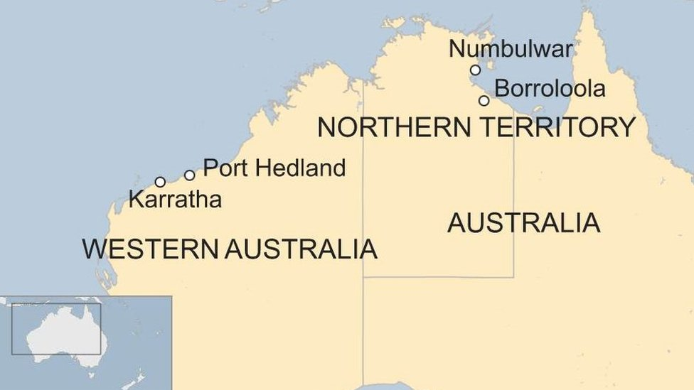 A map showing the areas where the two cyclones will hit in the Northern Territory and Western Australia