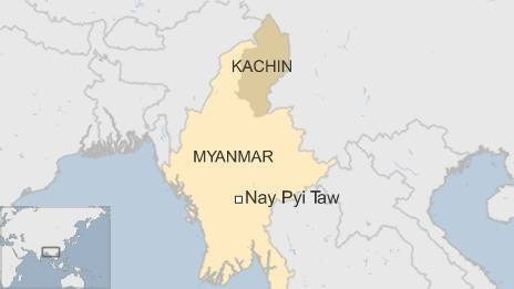 Map showing Kachin State