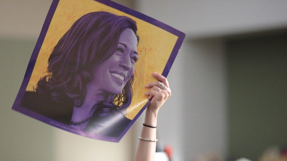 美國愛荷華州Des Moines一名民主黨參議員卡瑪拉·哈里斯(賀錦麗)支持者在集會上高舉其肖像海報(1/11/2019)