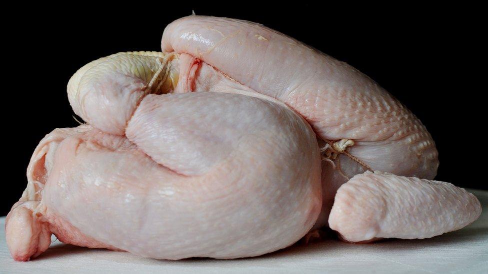 A raw chicken