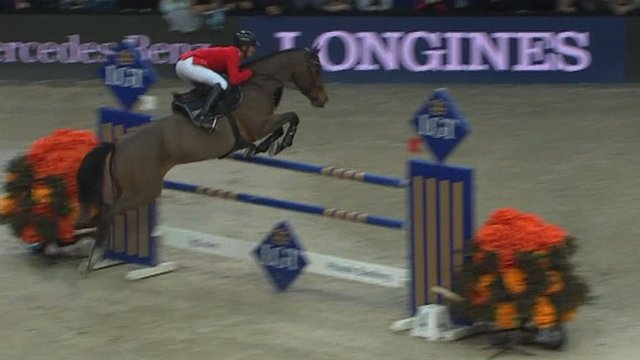 Swiss Olympian Pius Schwizer takes victory in front of a home crowd as he wins Zurich round of the FEI World Cup
