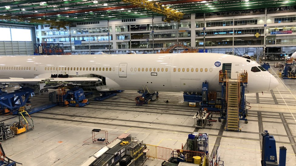 A Boeing plane being built in the US