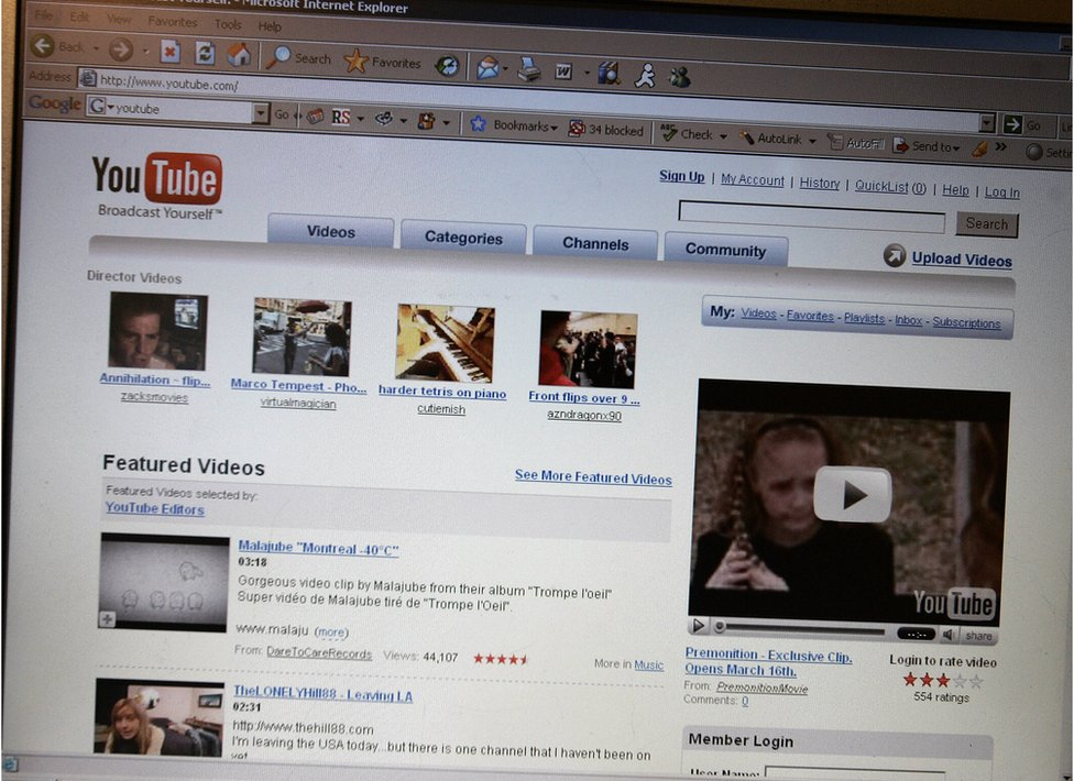 A picture of the YouTube homepage 13 March 2007