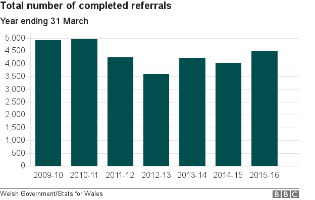 Chart showing the number of completed adult protection referrals