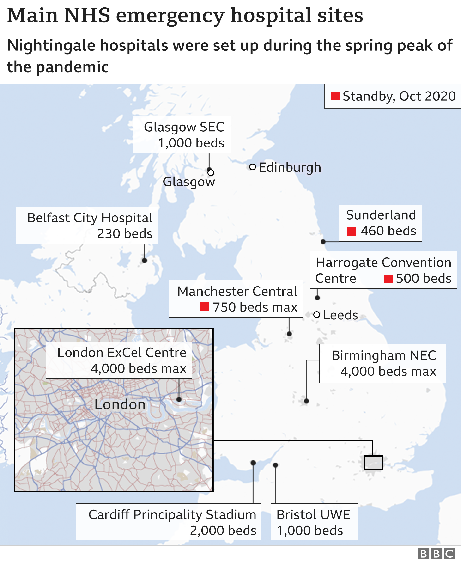 Map of nightingale hospital sites shows Manchester, Sunderland and Harrogate on standyb