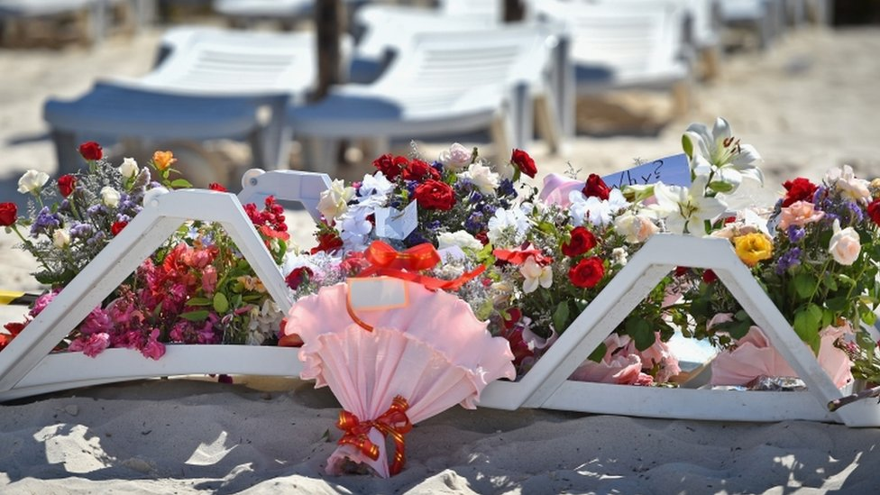 Flowers on the beach in Sousse