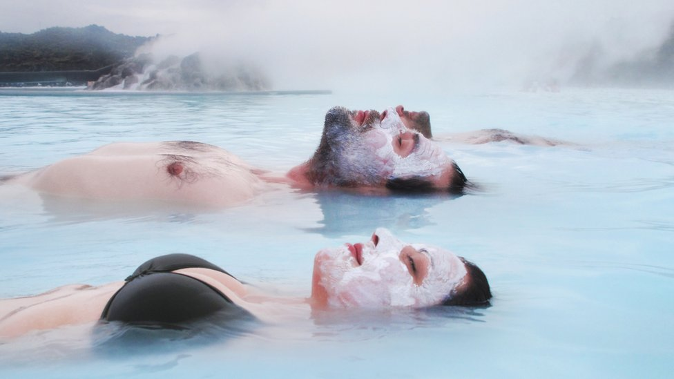 Couple at the Blue Lagoon, in Reykjavik