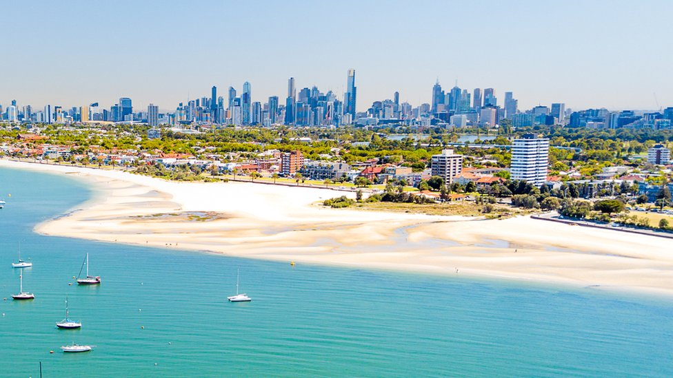 A view of Melbourne's inner south-east from Port Phillip Bay