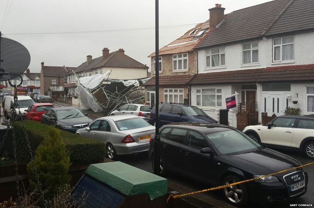 Scaffolding collapse in Croydon, Surrey, after Storm Katie hit. Credit: Gary Cormack