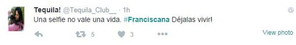Screen grab from tweet reading: 'A selfie is not worth a life'