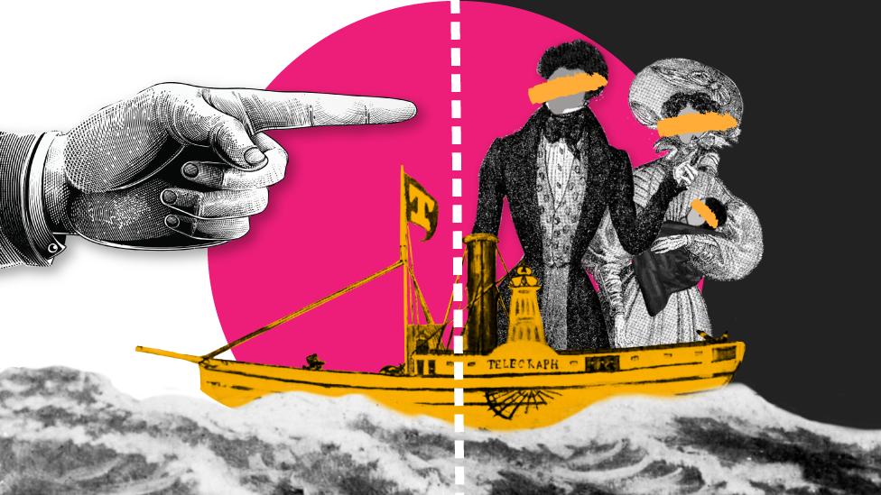 Ilustración artística de la familia Mundrucu en el barco Telegraph
